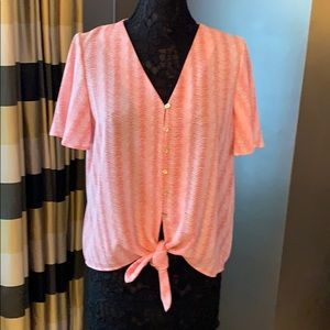 V-Neck Button Front Tie Bottom Coral Pink Wavy Top